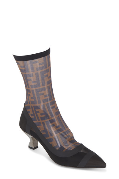 Fendi - Colibrì Black & Tobacco Logo Sock Bootie, 35mm