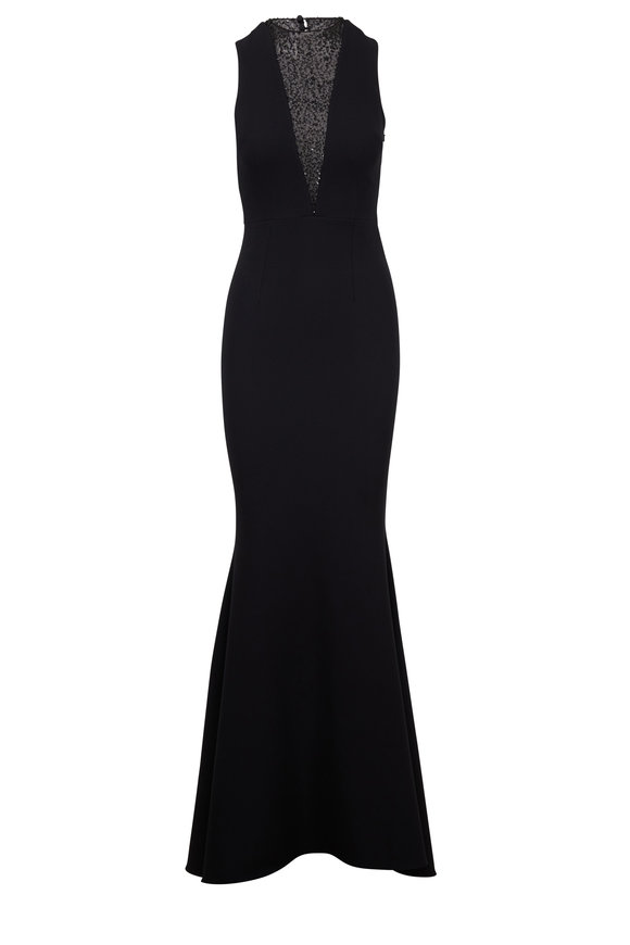 Safiyaa Jacinta Black Crepe Sequin V-Neck Gown