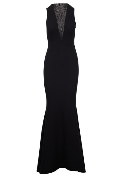 Safiyaa - Jacinta Black Crepe Sequin V-Neck Gown