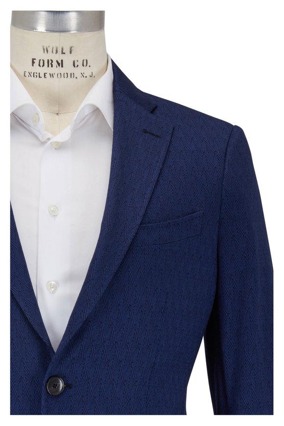 Etro Navy Cotton, Cashmere & Silk Herringbone Sportcoat