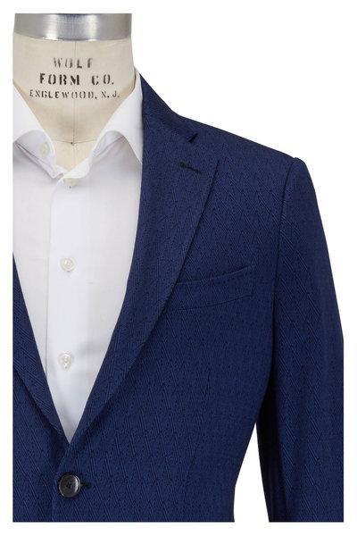 Etro - Navy Cotton, Cashmere & Silk Herringbone Sportcoat
