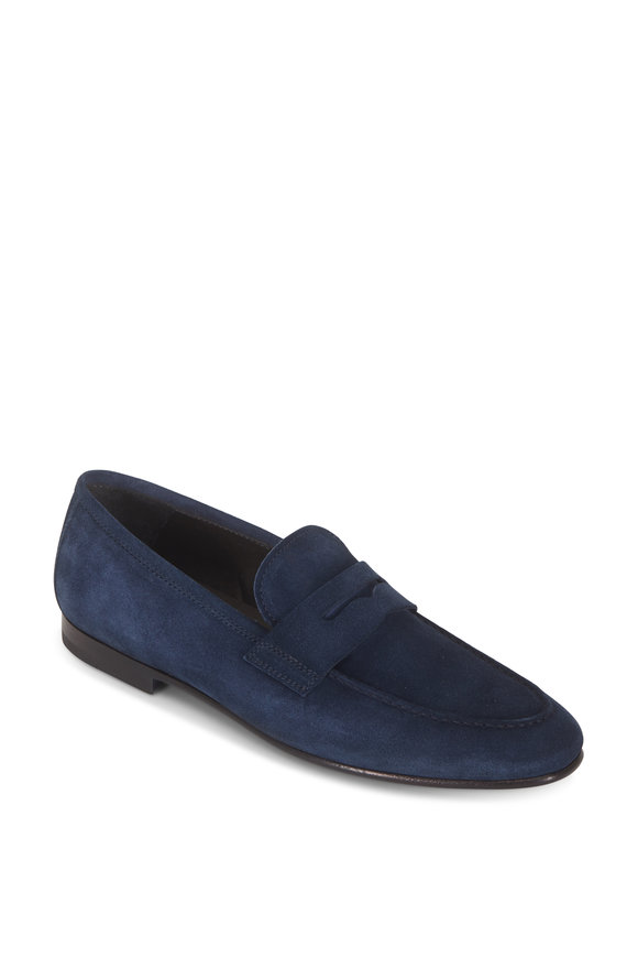 To Boot New York Enzo Navy Blue Suede Penny Loafer