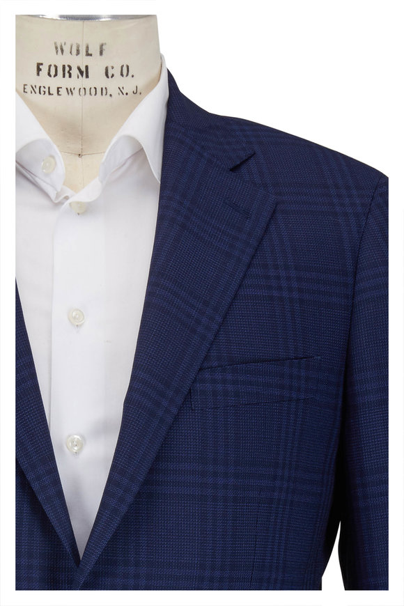 Atelier Munro Navy Tonal Plaid Stretch Wool Suit