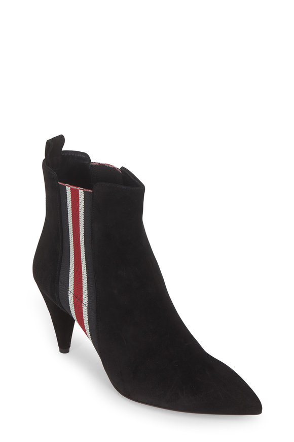 Veronica Beard Flynne Suede Striped Gores Ankle Boot, 80mm