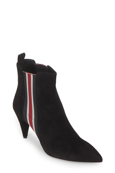 Veronica Beard - Flynne Suede Striped Gores Ankle Boot, 80mm