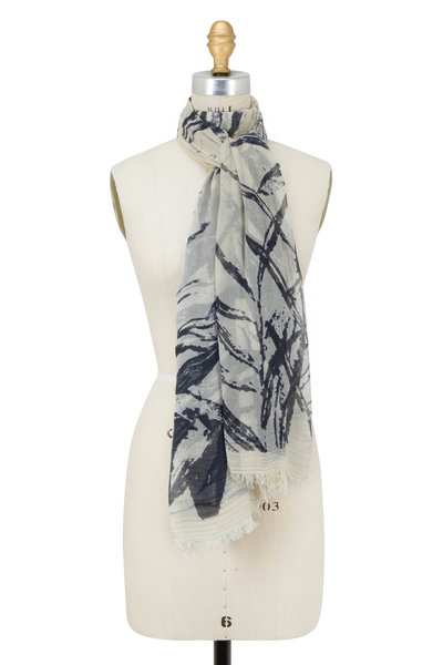 Faliero Sarti - Black & Ivory Abstract Floral Print Scarf