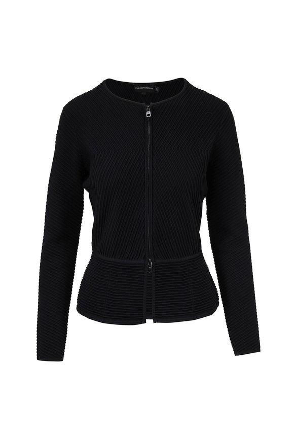 Emporio Armani Black Ribbed Collarless Jacket