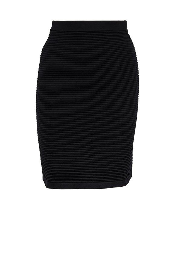 Emporio Armani Black Ottoman Ribbed Skirt