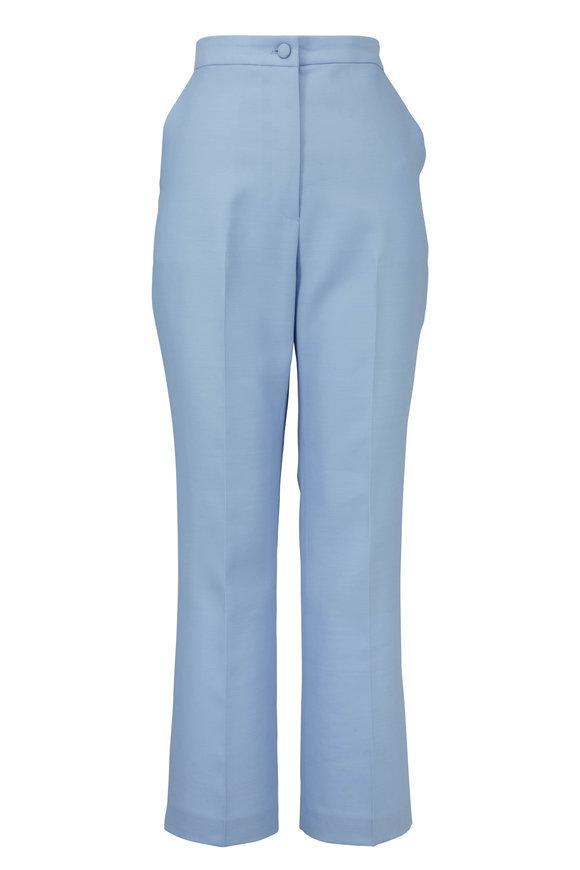 Partow Hadley Pale Blue Wool & Silk High-Rise Pant