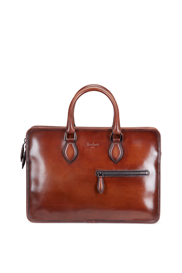 Berluti Un Jour Mini Brown Leather Briefcase