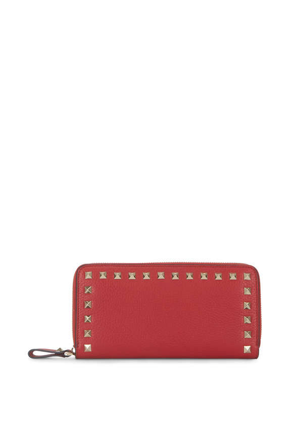 Valentino Garavani Rockstud Red Grained Leather Zip-Around Wallet