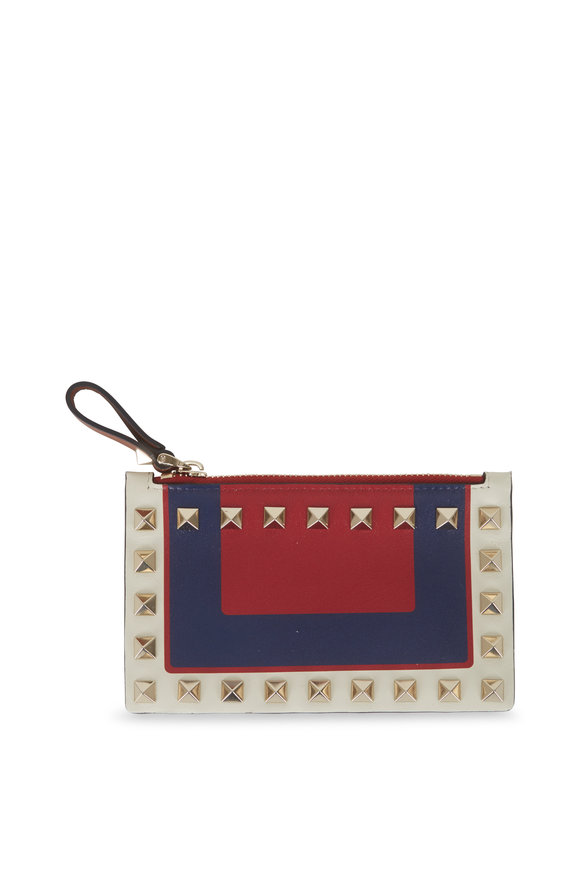 Valentino Garavani Rockstud Multi-Color Leather Card Case