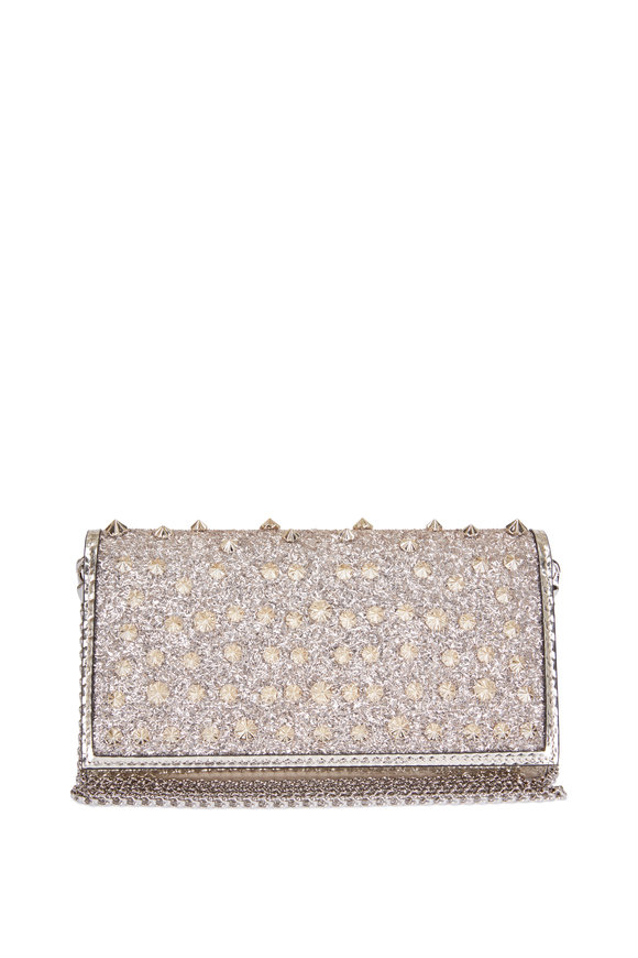 Christian Louboutin Boudoir Gold Frosted Glitter Leather Chain Wallet