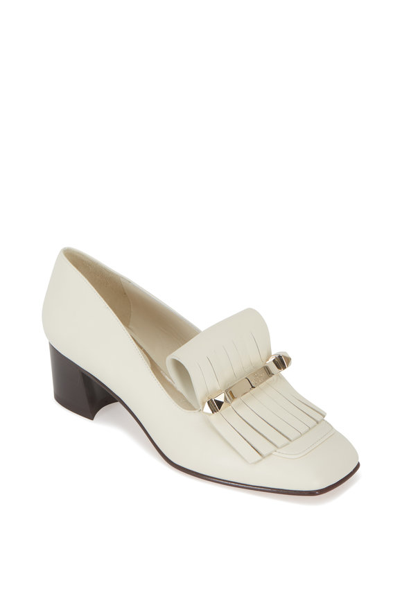Valentino Garavani Uptown Ivory Leather Kiltie Loafer, 45mm