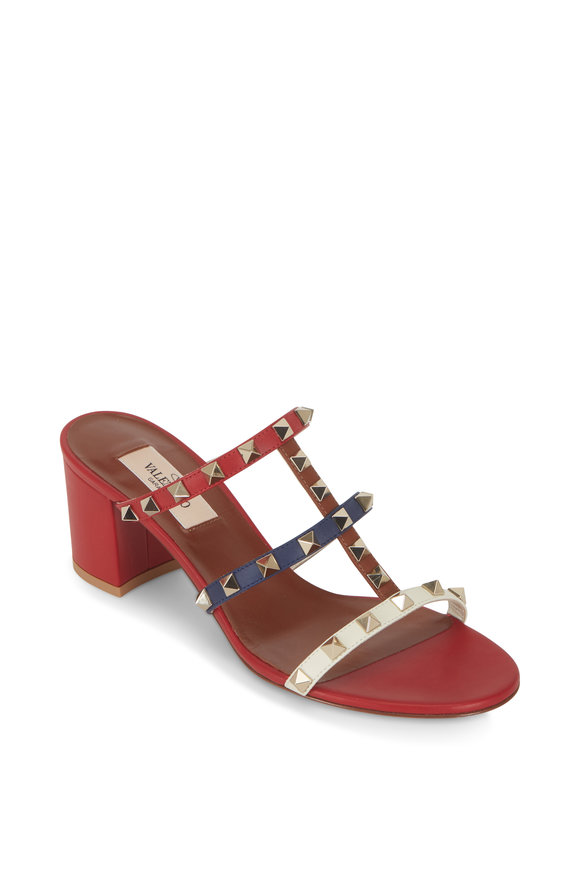 Valentino Garavani Rockstud Red Multi Leather City Mule, 60mm
