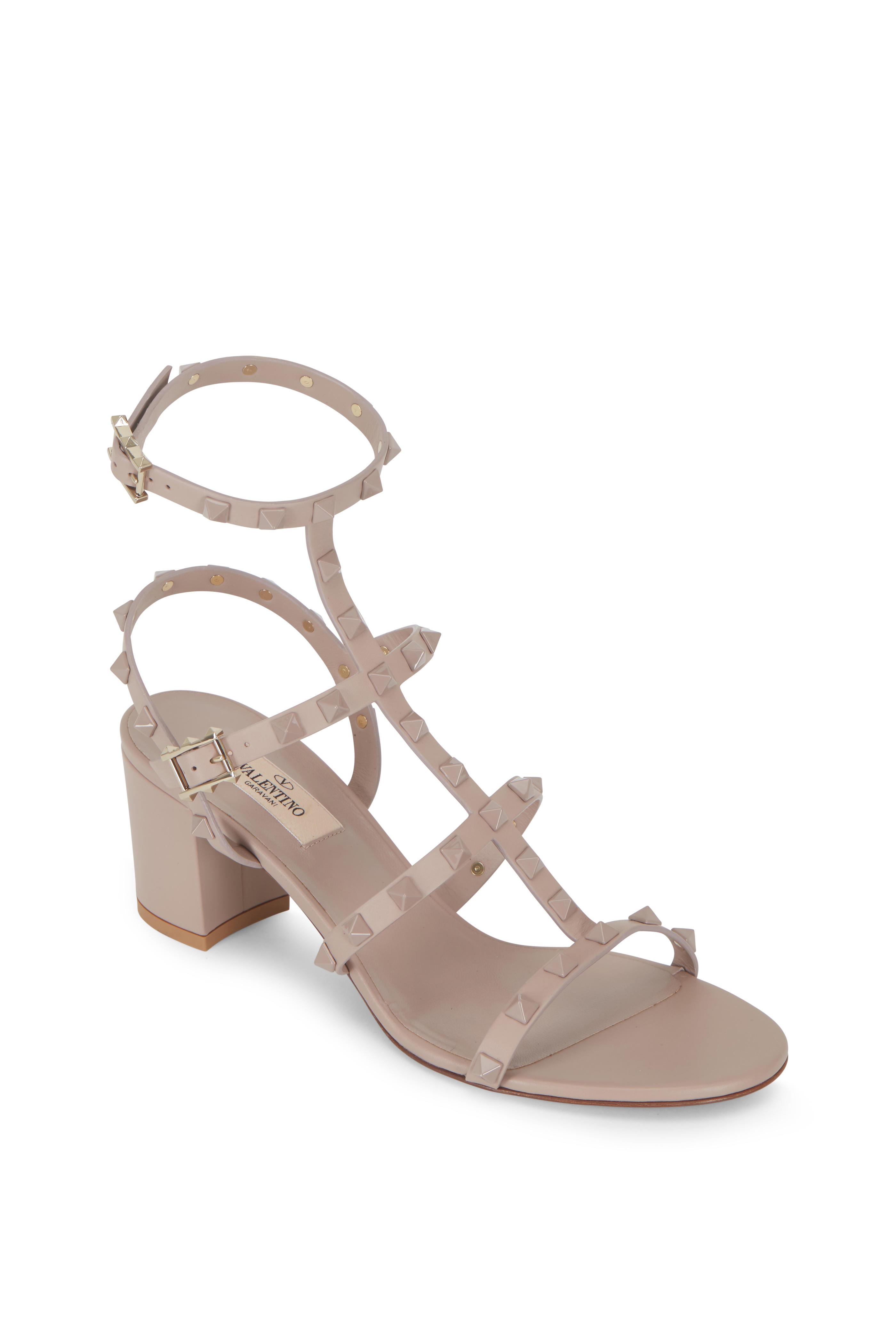 e83a1accd035 Valentino Garavani - Rockstud Poudre Leather T-Strap Sandal