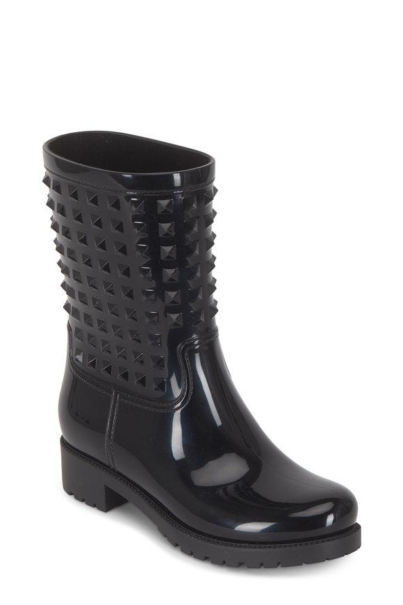 Valentino Garavani Rockstud Black Rain Boots, 40mm