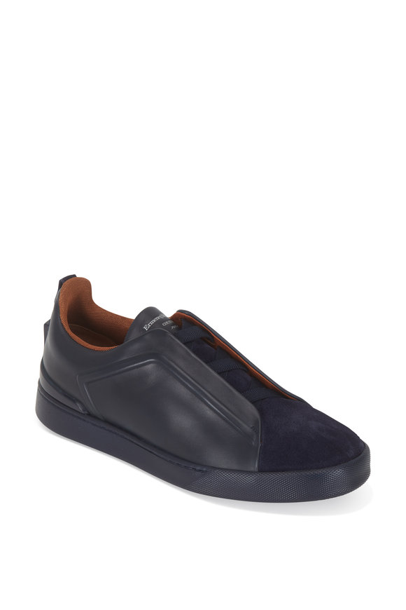 Ermenegildo Zegna Triple Stitch Navy Leather & Suede Sneaker