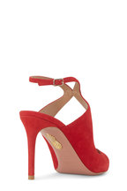 Aquazzura - Talana Lipstick Red Suede Ankle Strap Pump, 85mm