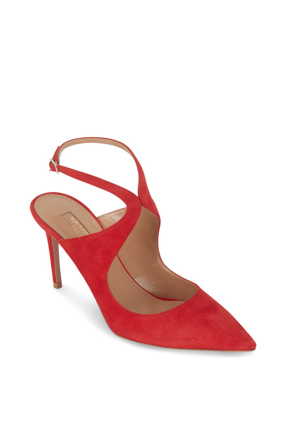 Aquazzura Talana Lipstick Red Suede Ankle Strap Pump, 85mm
