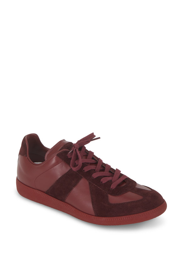 Maison Margiela Replica Bordeaux Leather & Suede Lace-Up Sneaker