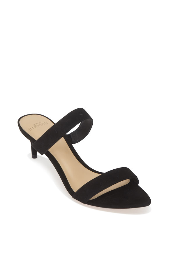 Alexandre Birman Leblon Black Suede Two-Band Slide, 50mm