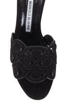 Manolo Blahnik - Agobrilla Black Suede Laser Cut Mule, 70mm