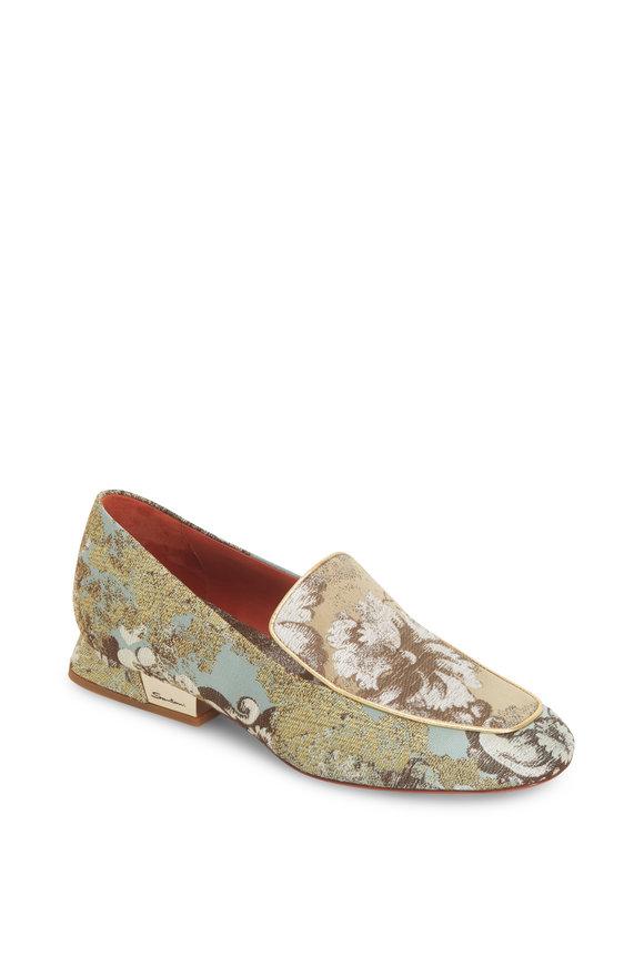 Santoni Degas Light Blue Rubelli Brocade Loafer