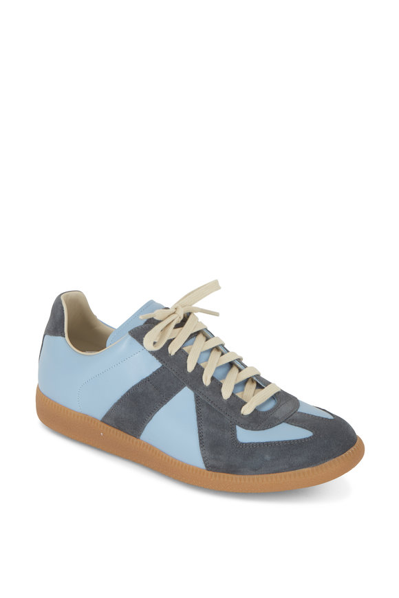 Maison Margiela Replica Light Blue Leather & Suede Lace-Up Sneaker