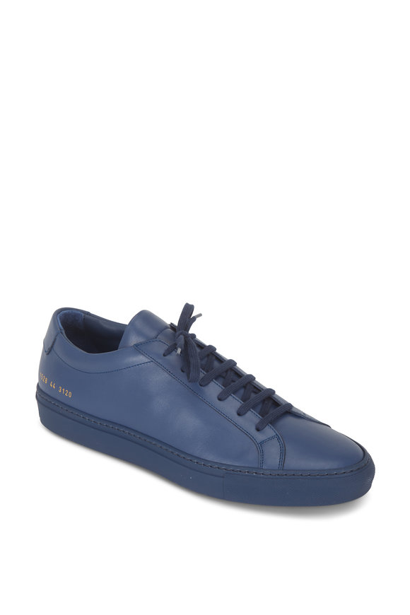 Common Projects Achilles Navy Blue Leather Low Top Sneaker