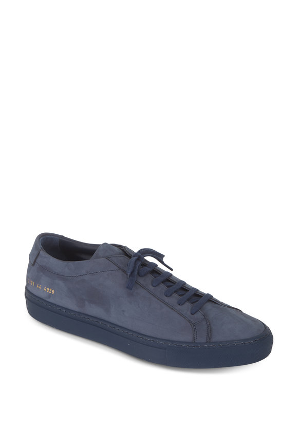 Common Projects Achilles Navy Blue Suede Low Top Sneaker