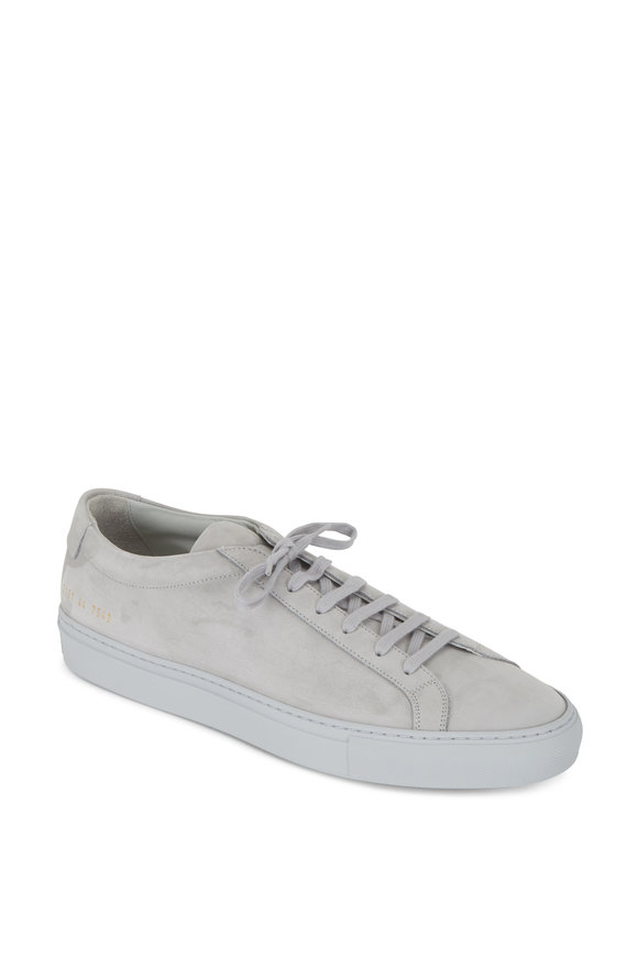 Common Projects Achilles Light Gray Suede Low Top Sneaker