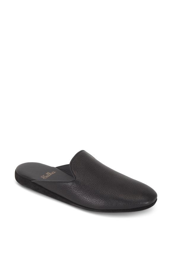 Sulka Black Deerskin Slippers