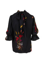 Valentino - Black Crepe De Chine Floral Meadow Printed Blouse