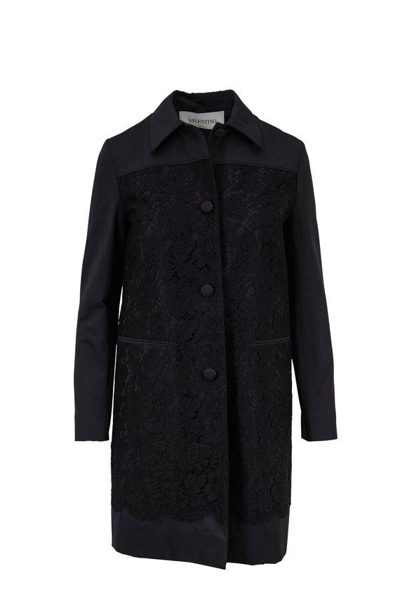 Valentino Black Floral Lace Coat