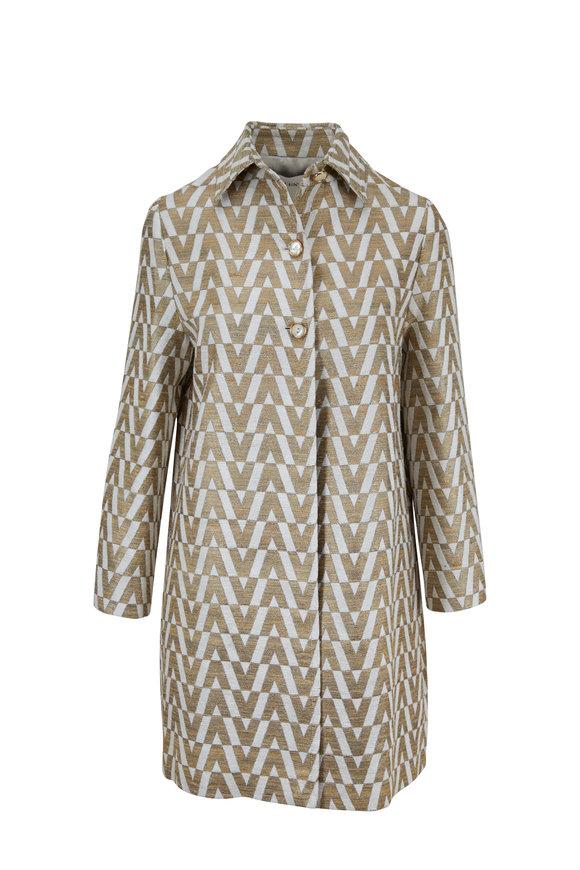 Valentino Tussah Ivory & Gold V Brocade Coat