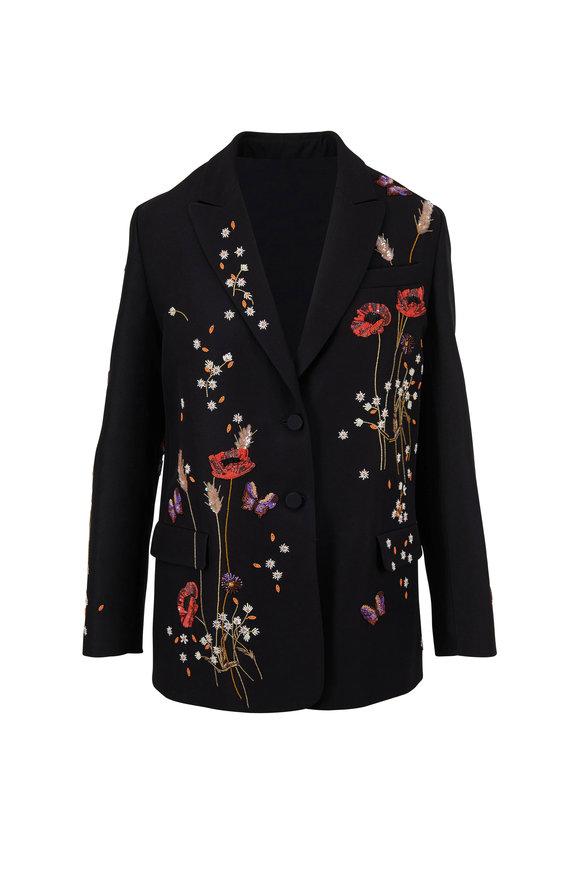 Valentino Black Wool & Silk Floral Embroidered Jacket