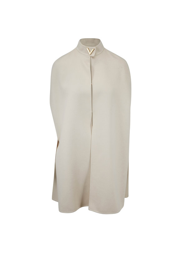 Valentino Almond Double-Faced Wool Cape