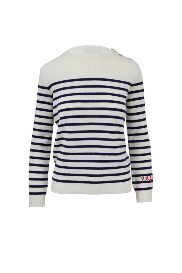 Valentino Ivory & Navy Striped Cashmere Button Sweater