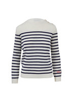 Valentino - Ivory & Navy Striped Cashmere Button Sweater