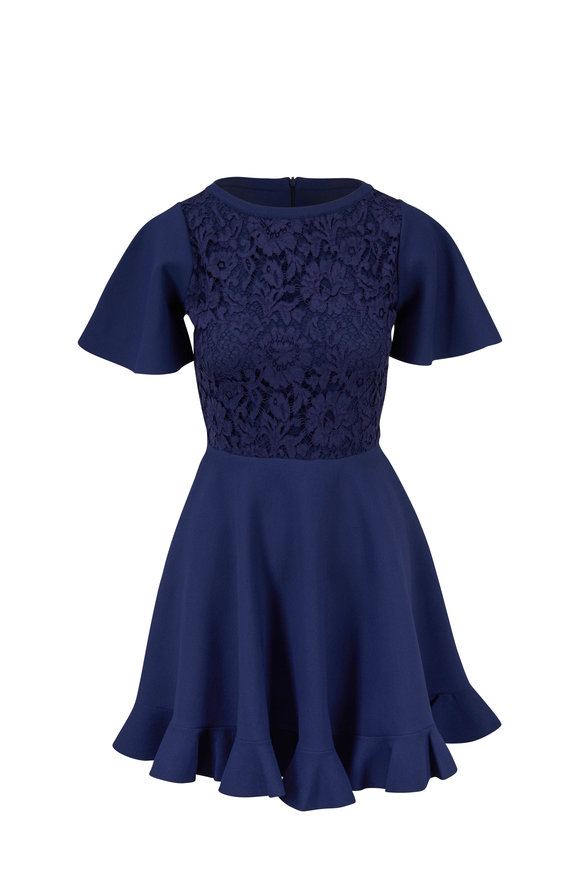 Valentino Navy Lace Short Sleeve Knit Fit & Flare Dress