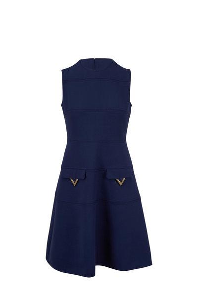 Valentino - Navy Double Crepe Wool Mini Dress