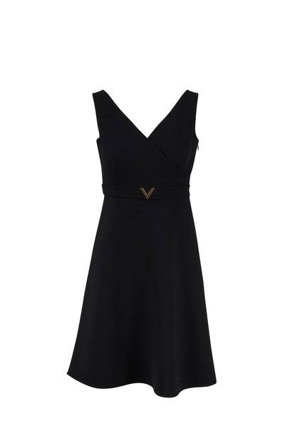 Valentino - Black Double Crepe V-Neck Dress
