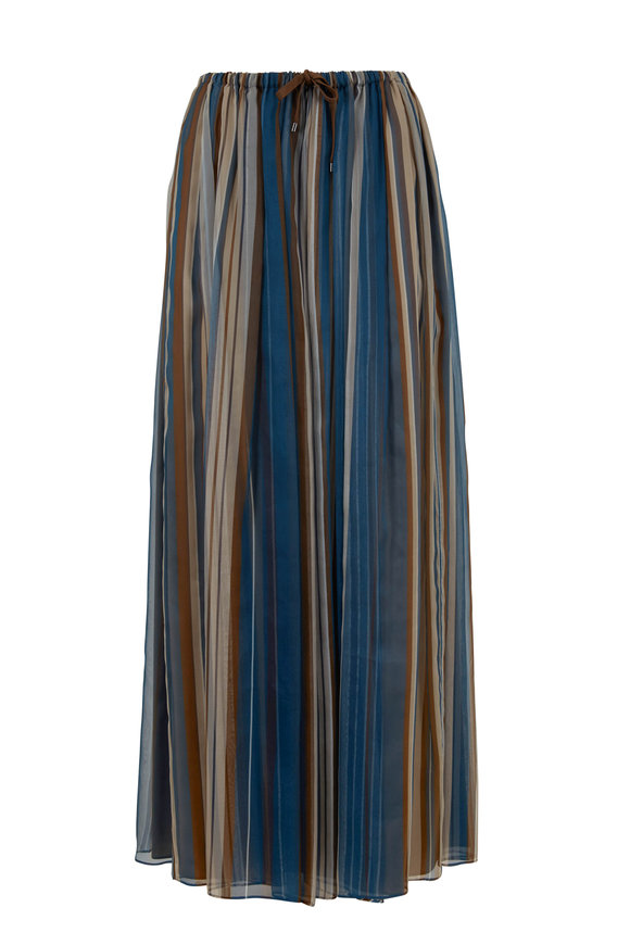 Brunello Cucinelli Petrol Organza Vertical Striped Maxi Skirt