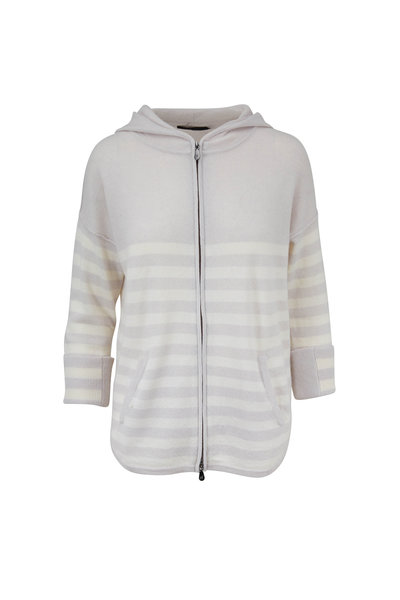 Raffi - Cloud Cashmere Striped Zip Front Hoodie