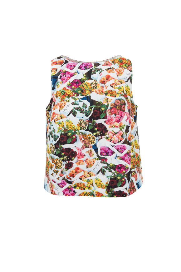 Adam Lippes Multicolor Cotton & Silk Floral Cropped Shell