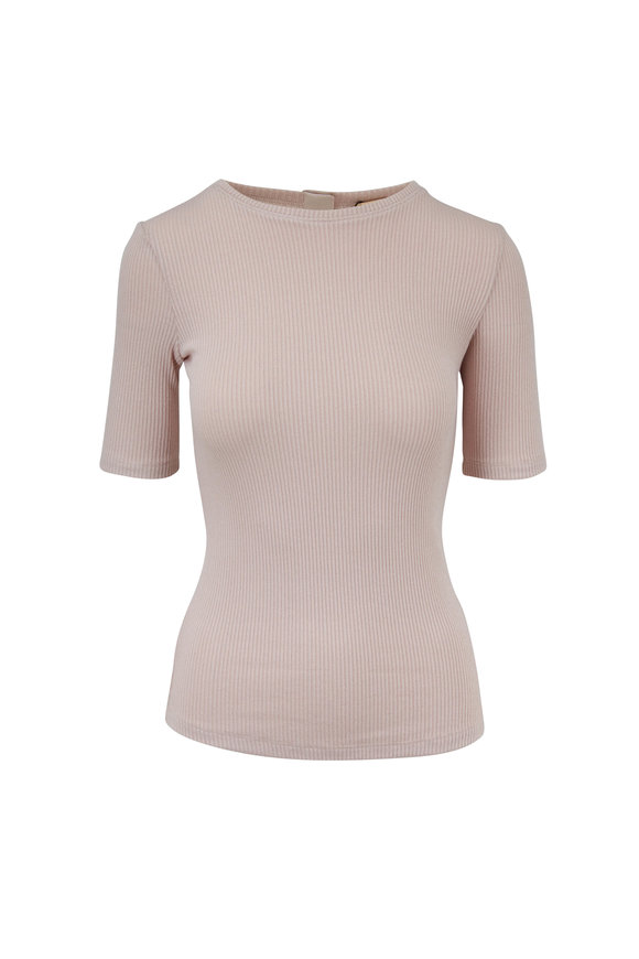 Adam Lippes Blush Ribbed Fitted Elbow Sleeve Top