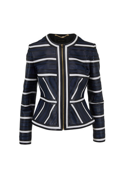 Escada - Linsa Deep Sea Geometric Leather Jacket
