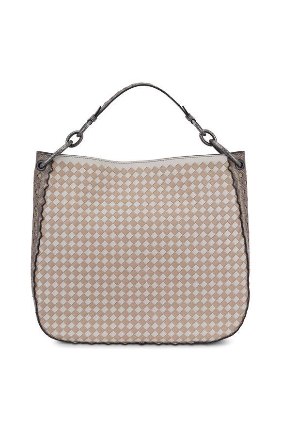 Bottega Veneta Mist & Mink Intrecciato & Snakeskin Loop Bag