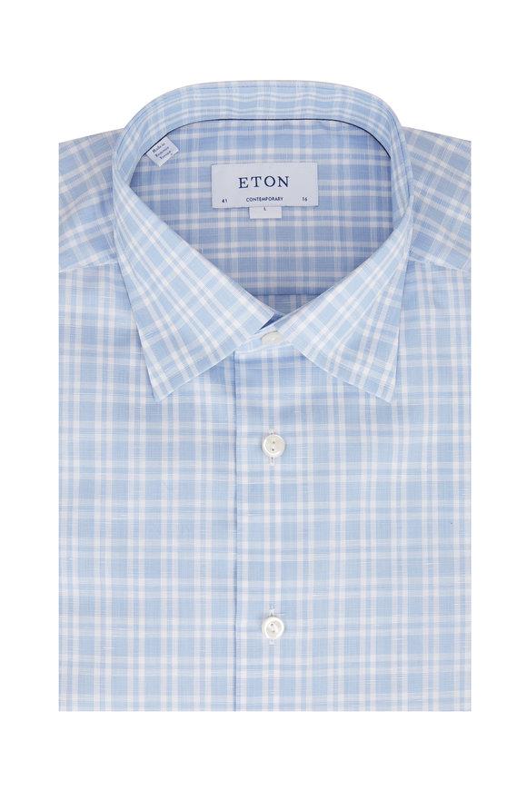 Eton Light Blue & White Contemporary Fit Sport Shirt